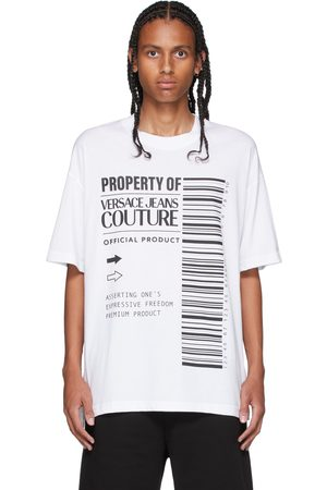 Men Short Sleeve - Versace Jeans Couture White Barcode T-Shirt