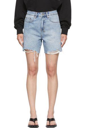 Women Shorts - Ksubi Blue Denim Racer Shorts