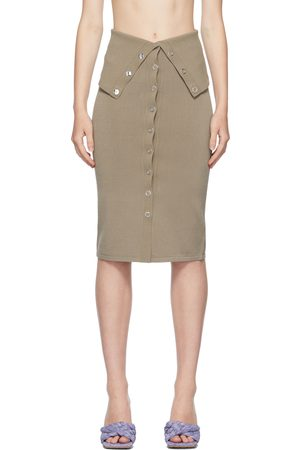 Dion Lee Taupe Hosiery Placket Skirt