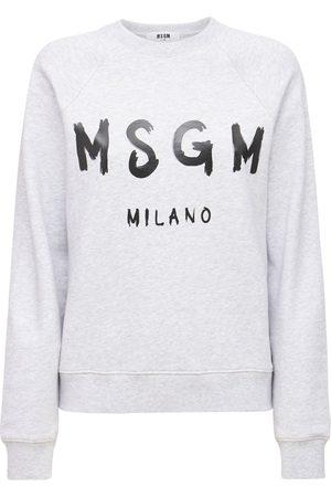 MSGM Logo Crewneck Cotton Sweatshirt