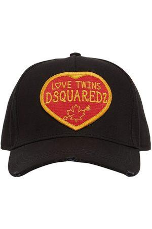 Dsquared2 Men Hats - Patch Love Twins Cotton Gabardine Cap