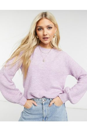 Pieces Recycled polyester blend jumper with balloon sleeve in lilac