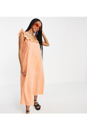 Only Exclusive midi beach dress with frill detail in