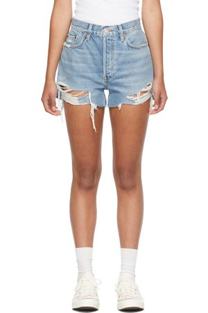 Re/Done Blue 70s High-Rise Shorts