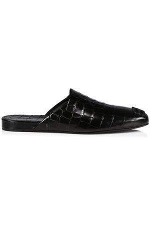 Balenciaga Cosy BB Croc-Embossed Leather Mules