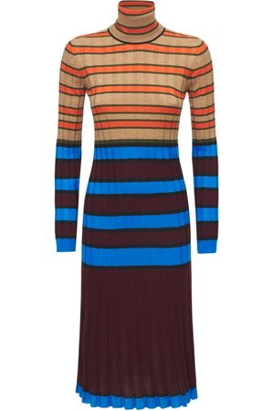 MARNI Stripped Wool Knit Turtleneck Dress