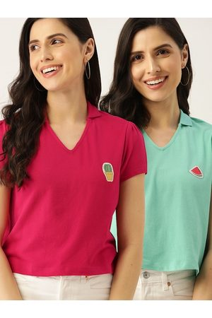 DressBerry Women Pack of 2 Pink & Green Solid Cotton Polo Collar T-shirt