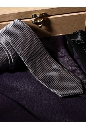 LOUIS STITCH Men Black & Cream-Coloured Woven Design Broad Tie