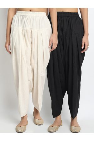 Molcha Women Pack Of 2 Black & Off White Solid Pure Cotton Loose-Fit Salwars