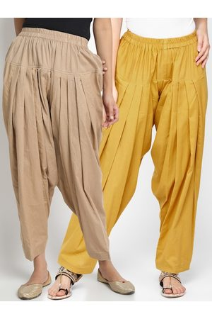 Molcha Women Pack Of 2 Solid Loose-Fit Pure Cotton Salwars