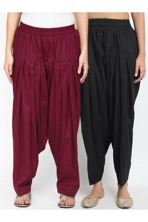 Molcha Women Pack Of Black & Maroon Loose-Fit Pure Cotton Salwars