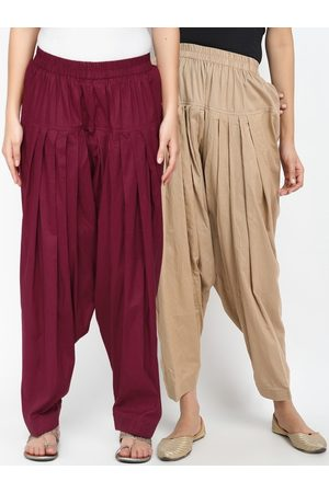 Molcha Women Pack Of 2 Solid Pure Cotton Loose-Fit Salwars