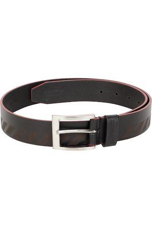 DUCATI Men Black Printed Leather Belt