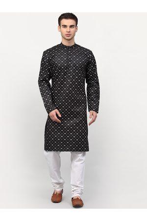 Jompers Men Black Ethnic Motifs Printed Kurta with Pyjamas