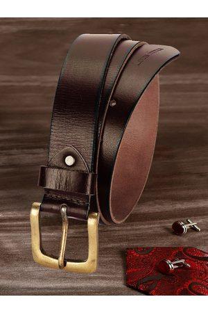 LOUIS STITCH Men Brown Leather Belt