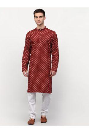 Jompers Men Maroon Ethnic Motifs Kurta with Pyjamas