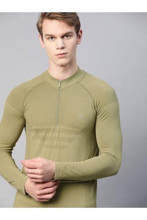 HRX Men Winter Moss Melange Solid Seamless Rapid-Dry Training Jackets