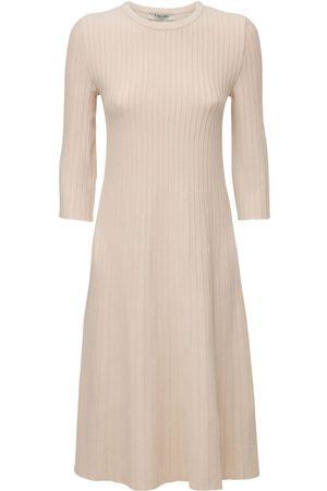 Max Mara Women Knitted Dresses - Viscose Rib Knit Midi Dress