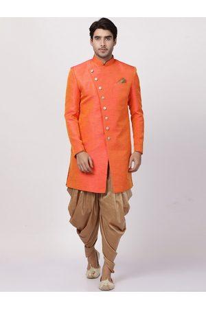 Vastramay Men Orange & Gold-Coloured Solid Sherwani Set