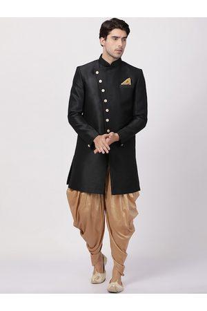 Vastramay Men Black & Gold-Coloured Solid Sherwani Set
