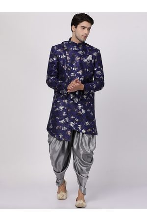 Vastramay Men Navy Blue & Grey Foil Printed Slim-Fit Sherwani Set