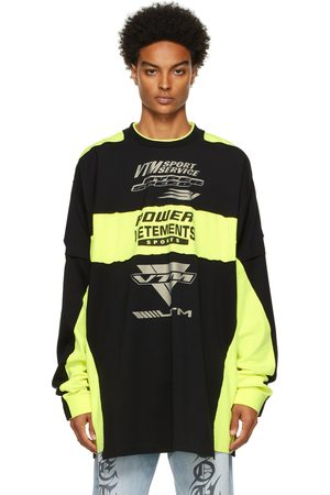VETEMENTS Yellow & Motocross Patched Logo Long Sleeve T-Shirt