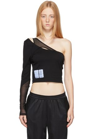 MCQ Off-Shoulder Twisted Long Sleeve T-Shirt