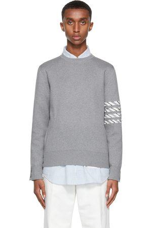 Thom Browne Grey Milano 4-Bar Stripe Crewneck Sweater