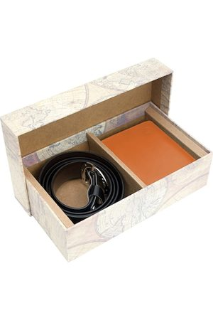 Blacksmith Men Orange & Black Solid Accessory Gift Set