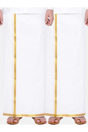 RAMRAJ COTTON Men Pack Of 2 White Solid Cotton Dhotis with Zari Border
