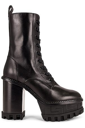 VERSACE Leather Lace Up Ankle Boots in Nero