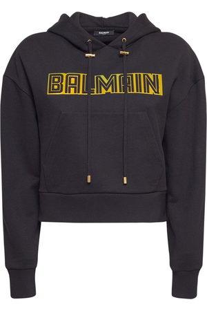 Balmain Women Hoodies - Jersey Embossed Logo Hoodie