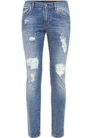 Dolce & Gabbana Logo Plaque Destroyed Denim Jeans