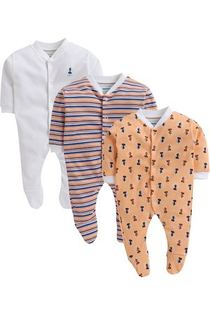 BUMZEE Infant Boys Pack Of 3 Printed Cotton Sleepsuits