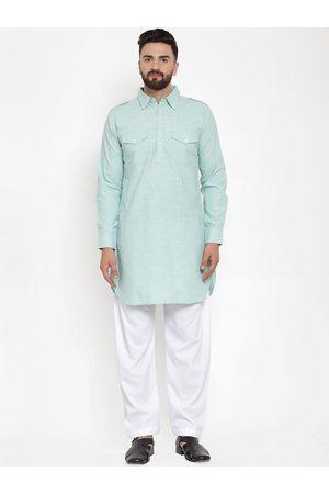 Purple State Men Sea Green & White Linen Kurta with Salwar