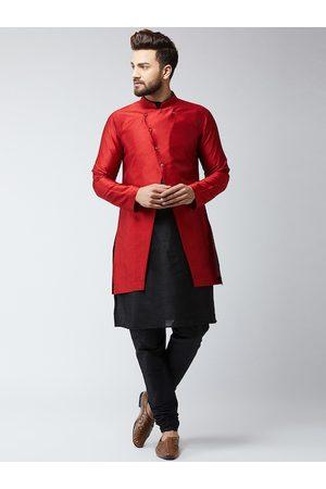 SOJANYA Men Maroon & Black Self Design Sherwani Set