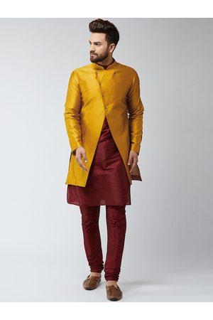 SOJANYA Men Maroon & Mustard Yellow Self Design Sherwani Set
