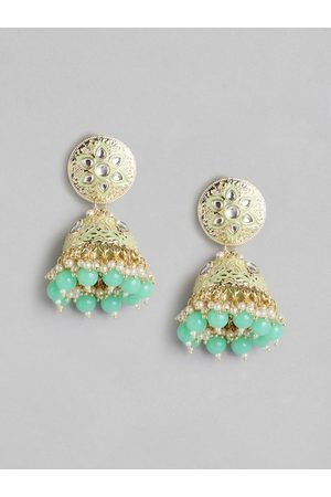 Anouk Green Gold-Plated Stone-studded Beaded Enamelled Dome Shaped Jhumkas