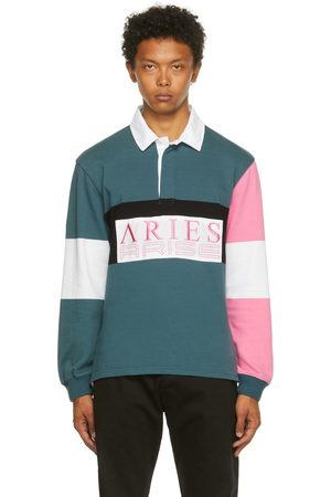 Aries & Pink Colorblocked Rugby Long Sleeve Polo