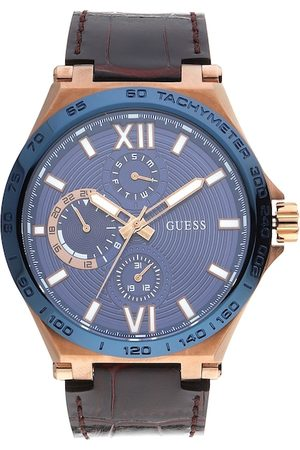 Guess Men Blue Patterned Dial & Brown Leather Textured Straps Analogue Watch - GW0204G2