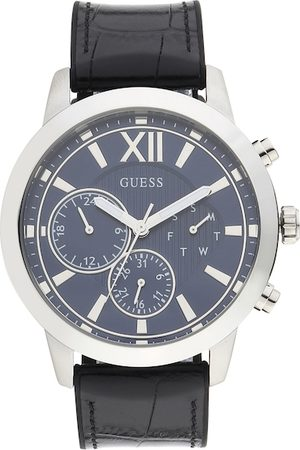 Guess Men Blue Dial & Black Leather Textured Straps Analogue Watch