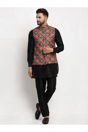 Benstoke Men Black Ethnic Motifs Printed Layered Dupion Silk Kurta with Pyjamas