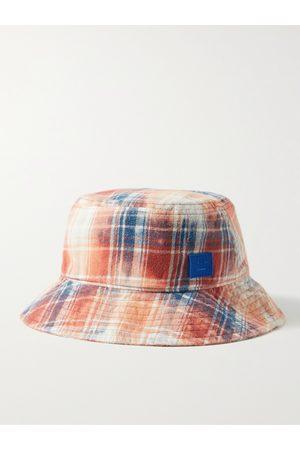 Acne Studios Men Hats - Logo-Appliquéd Checked Cotton-Flannel Bucket Hat