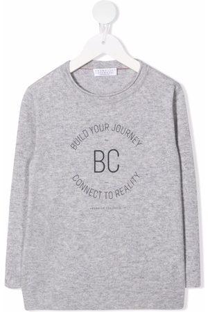 Brunello Cucinelli Kids Boys Long Sleeve - Logo-print cashmere T-shirt