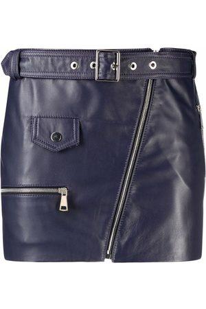 Manokhi Women Mini Skirts - Leather biker mini skirt