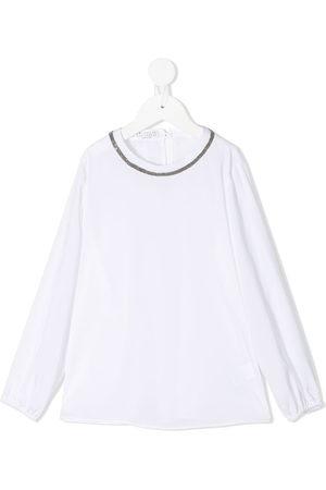 Brunello Cucinelli Kids Micro stud-embellished long-sleeved blouse