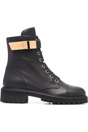 Giuseppe Zanotti Women Cowboy & Biker Boots - Leather lace-up biker boots
