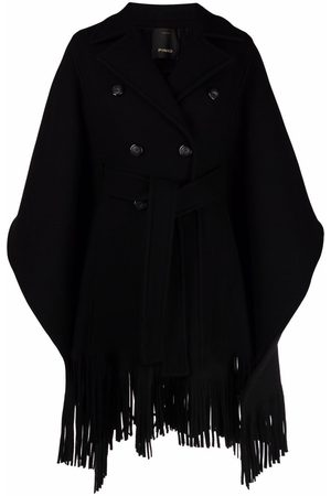 Pinko Women Ponchos & Capes - Double-breasted draped tassel poncho