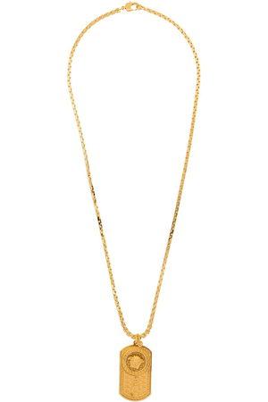 Versace Medusa dog-tag chain necklace