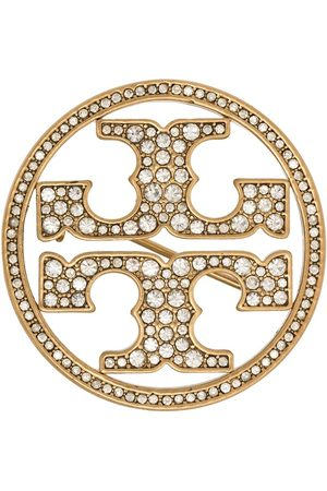Tory Burch Logo miller crystal brooch